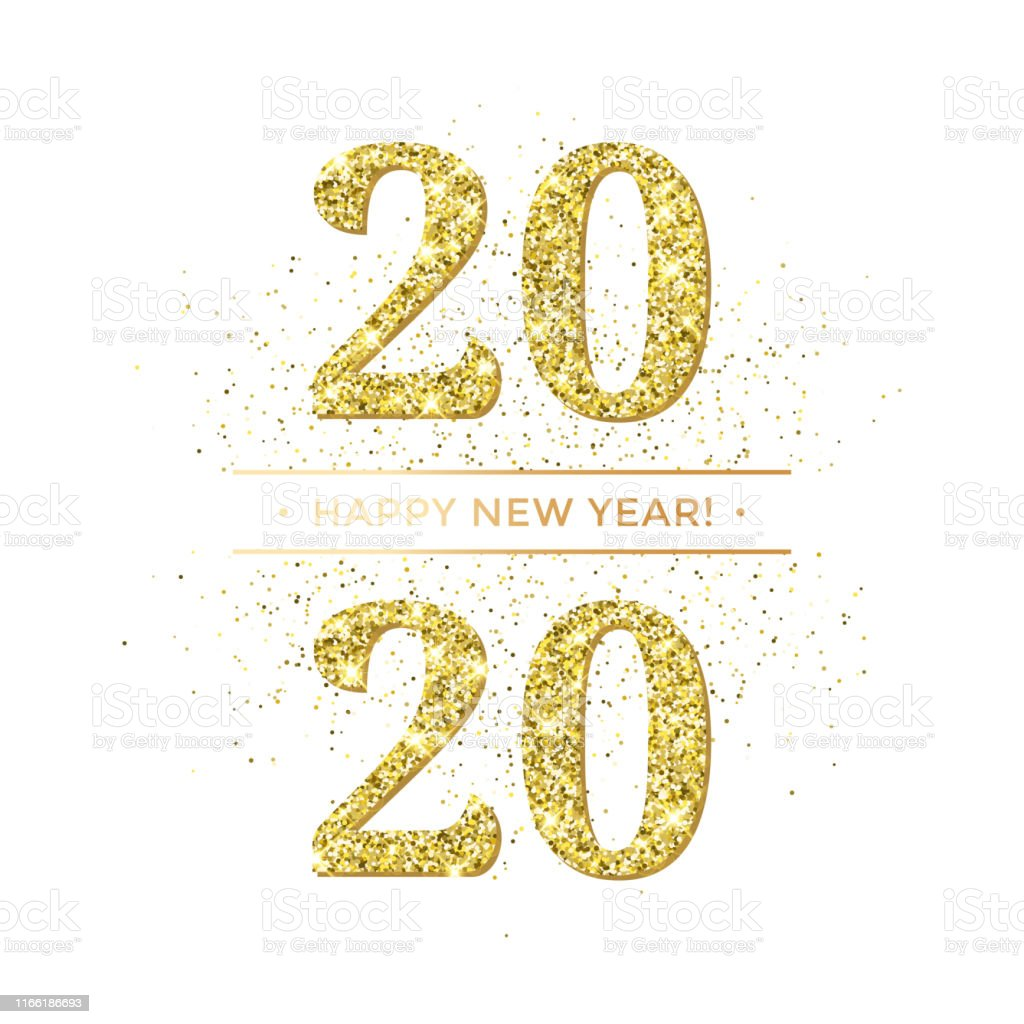 Happy New Year of glitter gold confetti or sparkle fireworks. Vector...