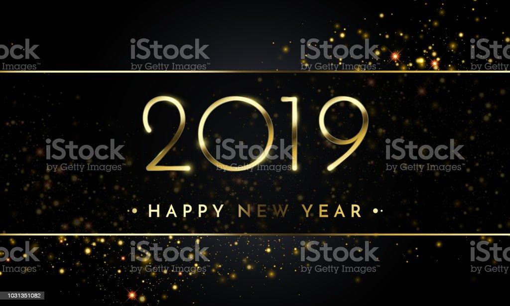 Happy New Year Of Glitter Gold Confetti Vector Golden