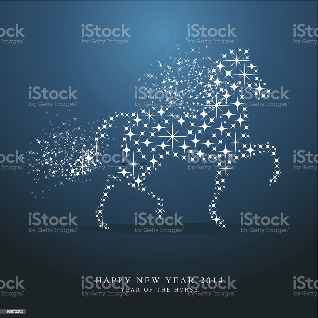 Happy New Year of horse 2014 stars greeting card