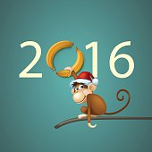 Happy New Year of the Chinese Calendar Monkey Christmas Card