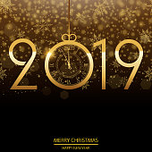 Happy New Year or Christmas background with gold confetti. Vector.
