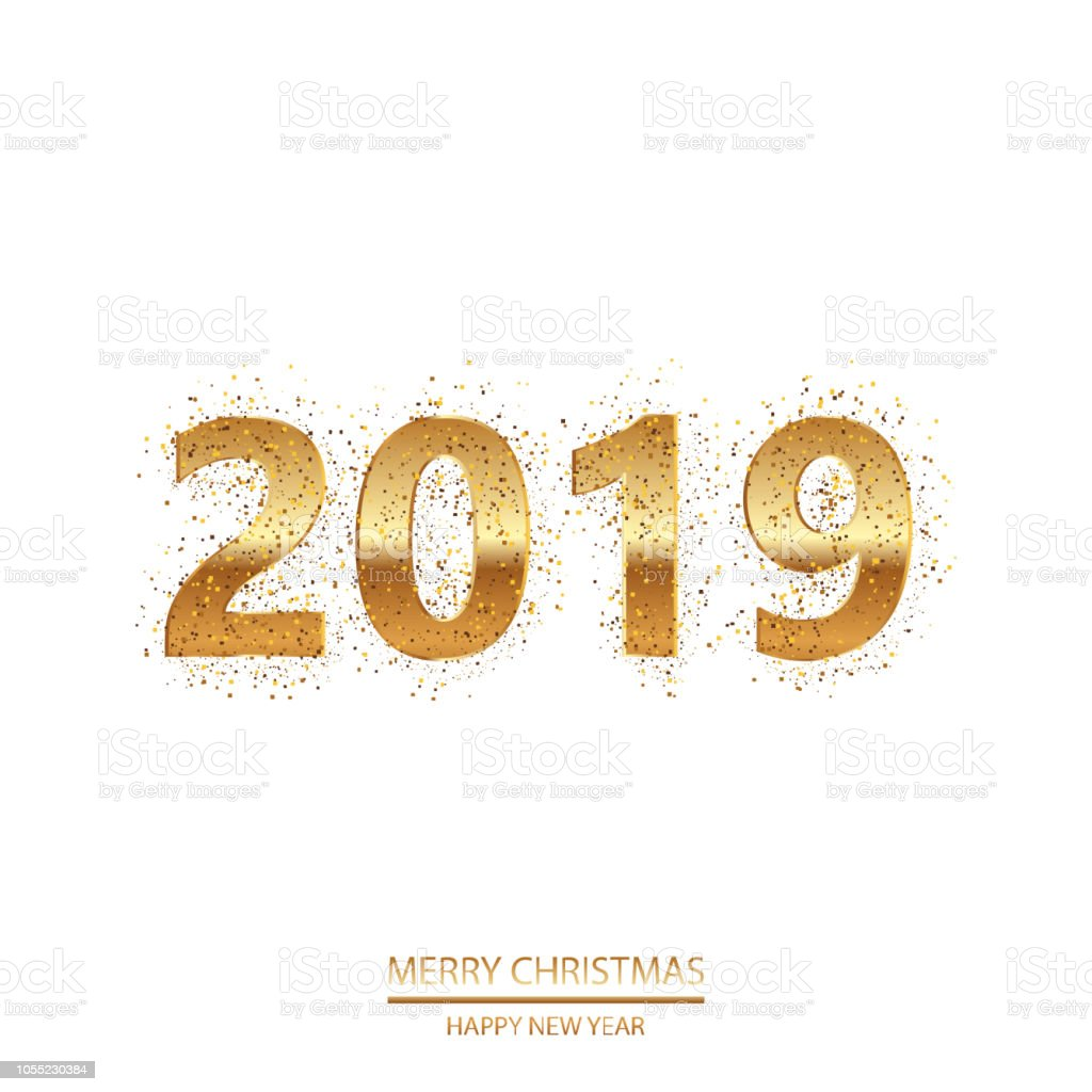 Happy New Year Or Christmas Background With Golden Text Vector Stock ...