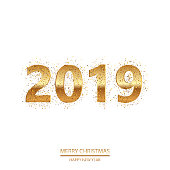 Happy New Year or Christmas background with golden text. Vector