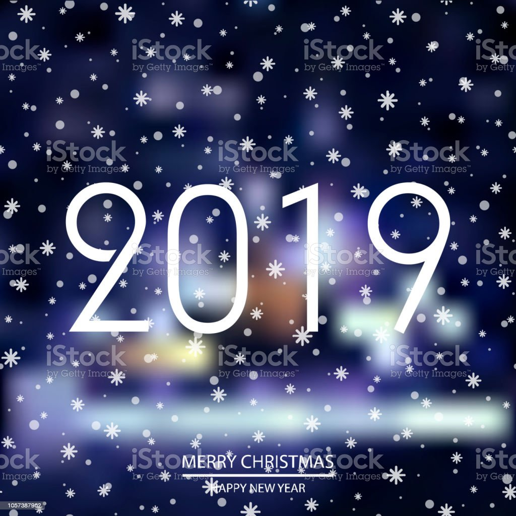 happy new year or christmas background with night lights 2019 vector royalty free