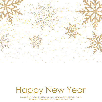 Happy New Year or Christmas card with falling gold snowflakes on white background. Vector