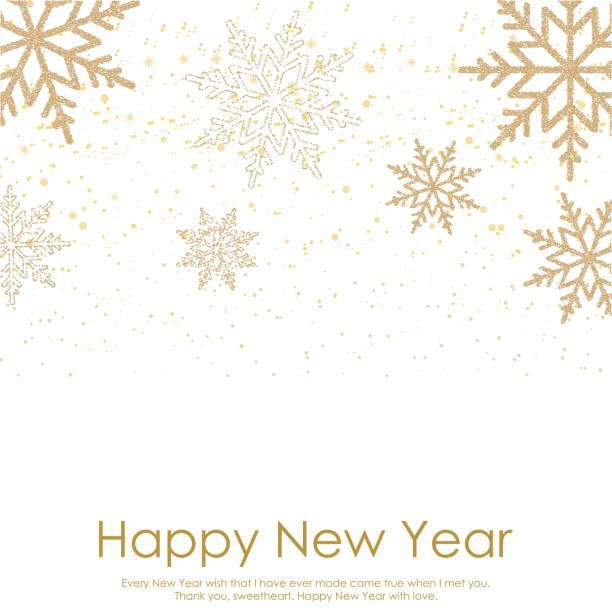 Happy New Year or Christmas card with falling gold snowflakes on white background. Vector Happy New Year or Christmas card with falling gold snowflakes on white background. Vector. holidays and seasonal stock illustrations