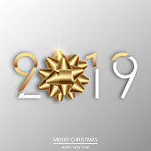 Happy New Year or Christmas card with golden bow and text. 2019. Vector.