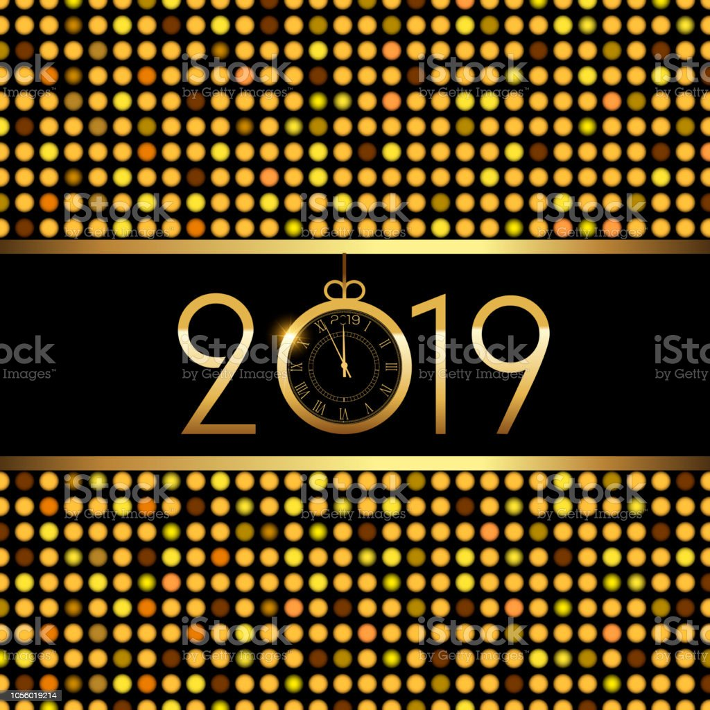 happy new year or christmas greeting card luxury golden text vector royalty free happy