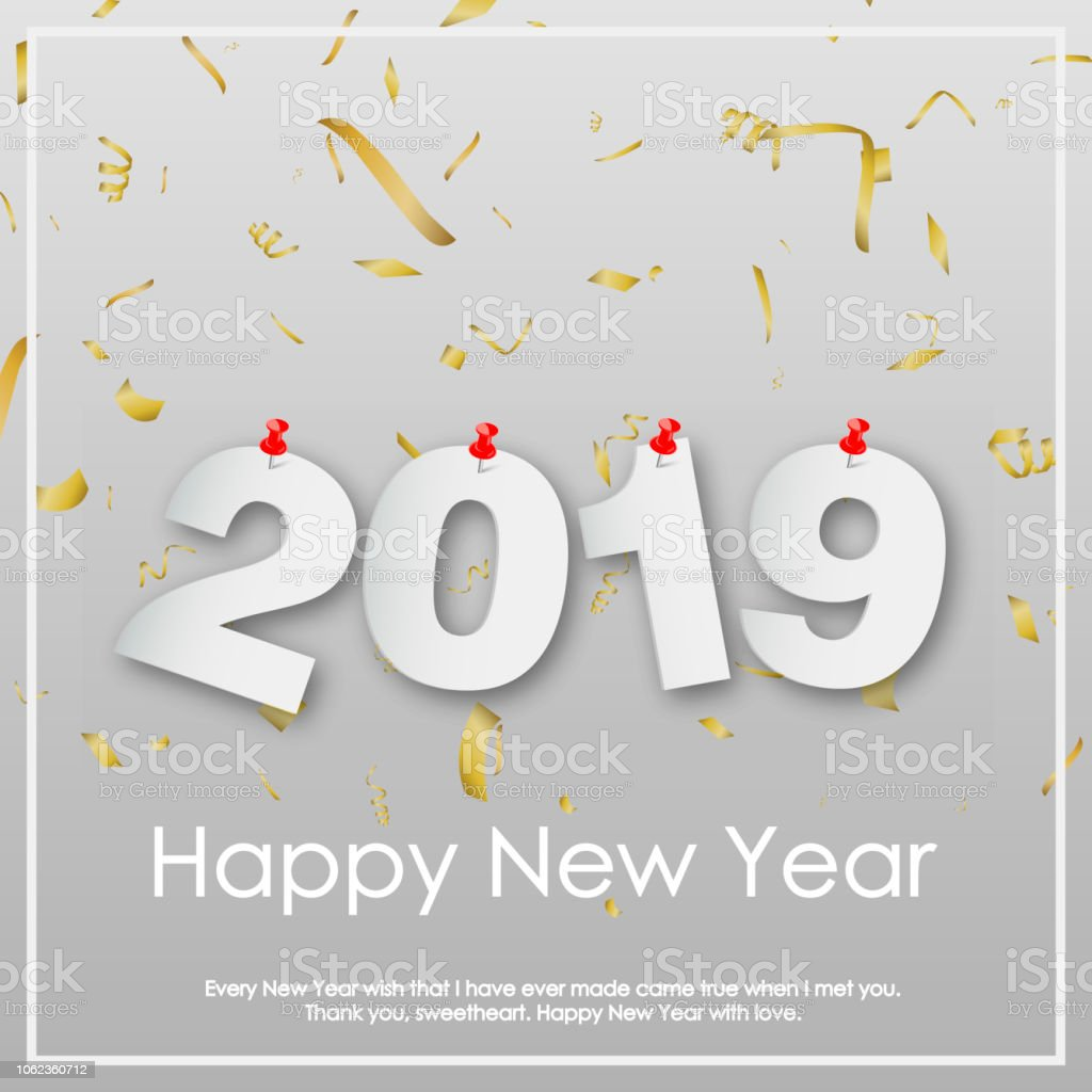 happy new year or christmas greeting card with falling gold confetti vector royalty free