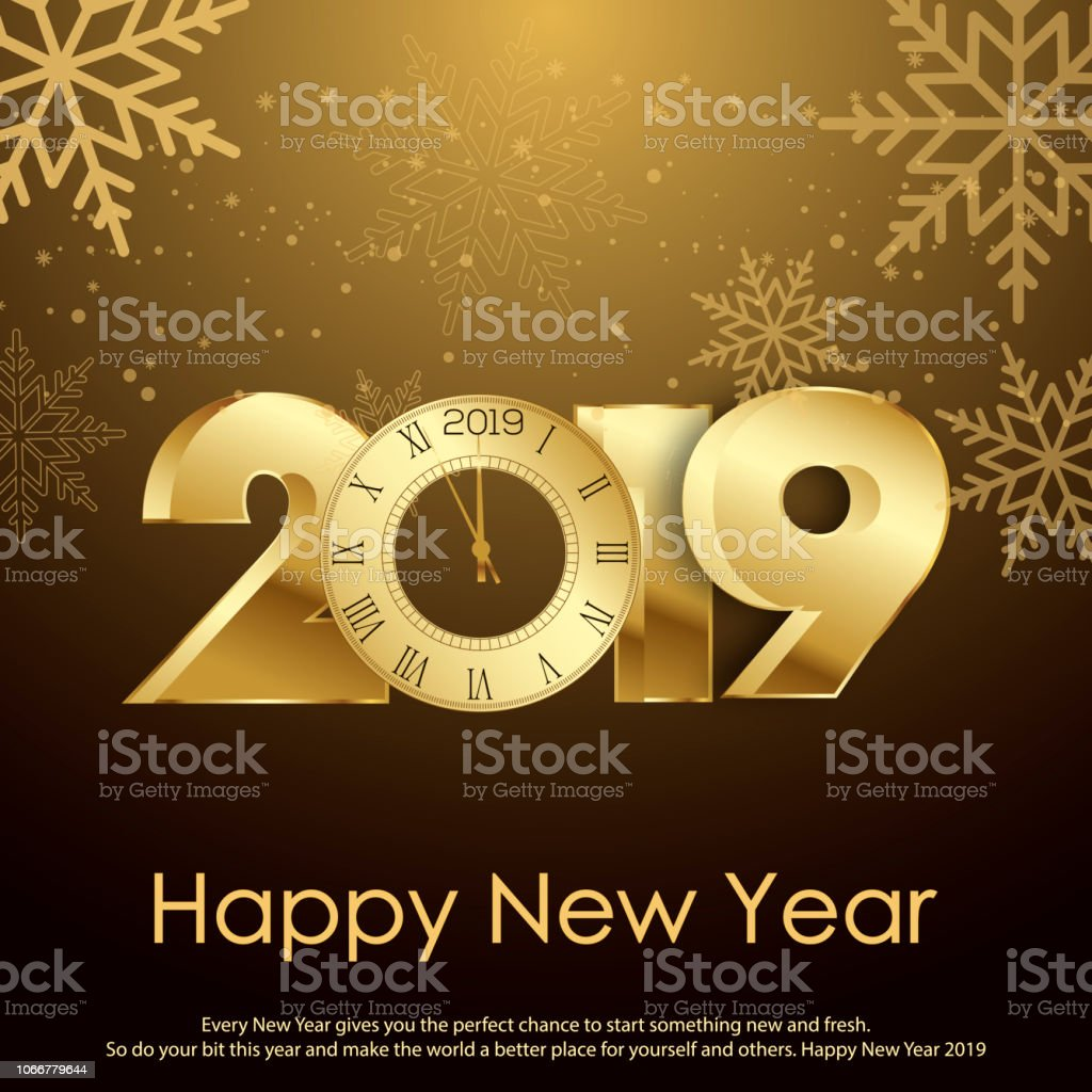 happy new year or christmas greeting card with gold clock vector royalty free happy