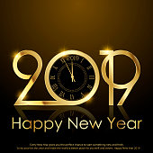 Happy New Year or Christmas greeting card with golden sparkles and clock. Vector.
