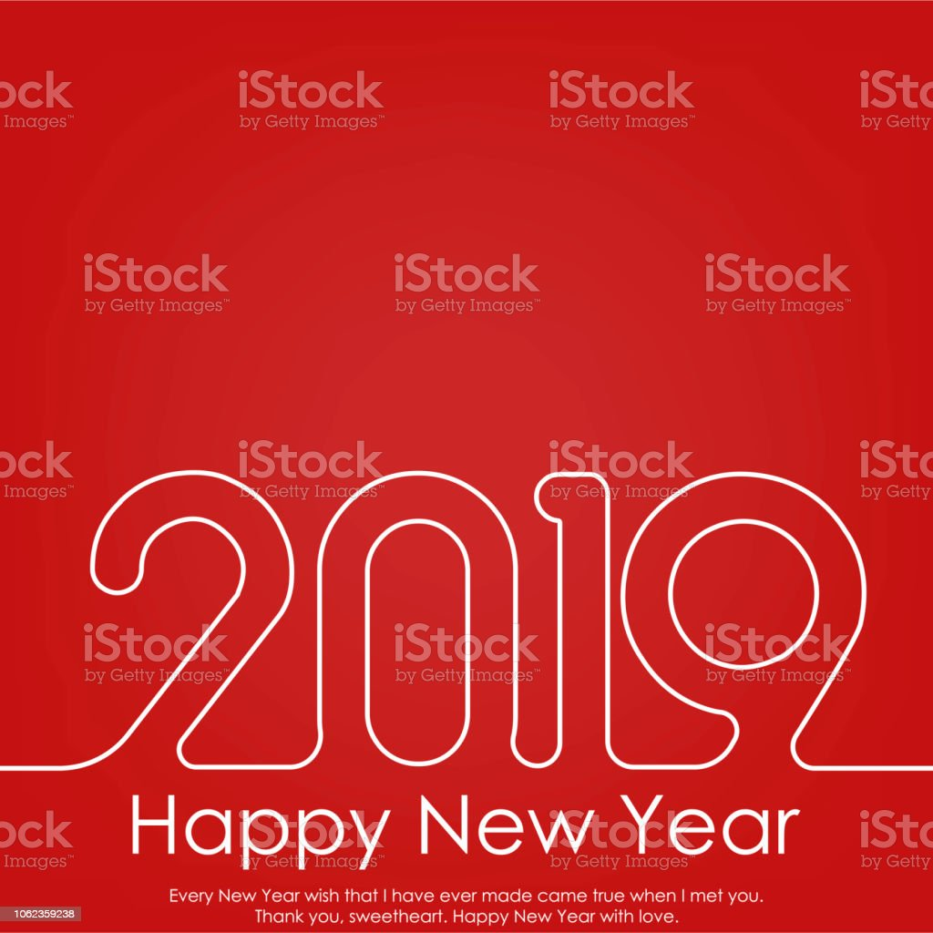 Happy New Year or Christmas greeting card with line text. 2019 Vector. vector art illustration