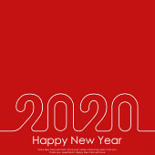 Happy New Year or Christmas greeting card with line text. 2020 Vector.