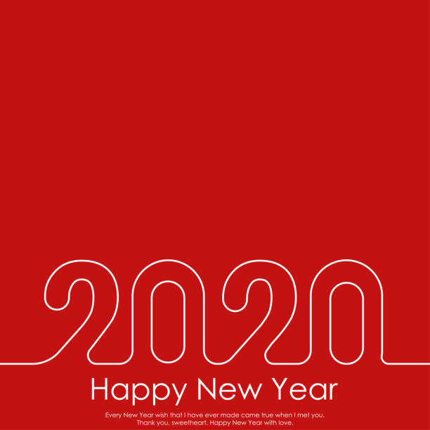 Happy New Year or Christmas greeting card with line text. 2020 Vector Happy New Year or Christmas greeting card with line text. 2020 Vector. new years day stock illustrations