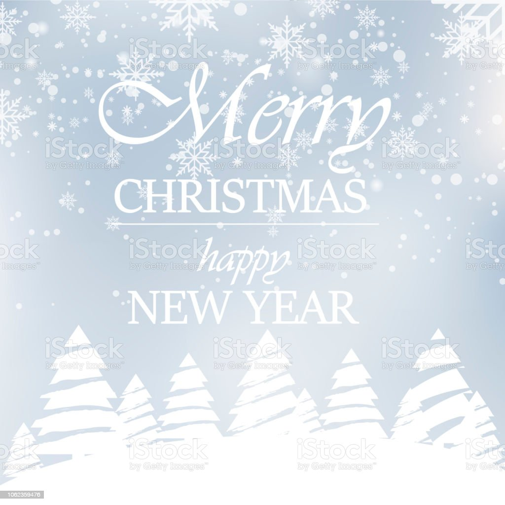 happy new year or christmas greeting card with snow in forest 2019 vector royalty