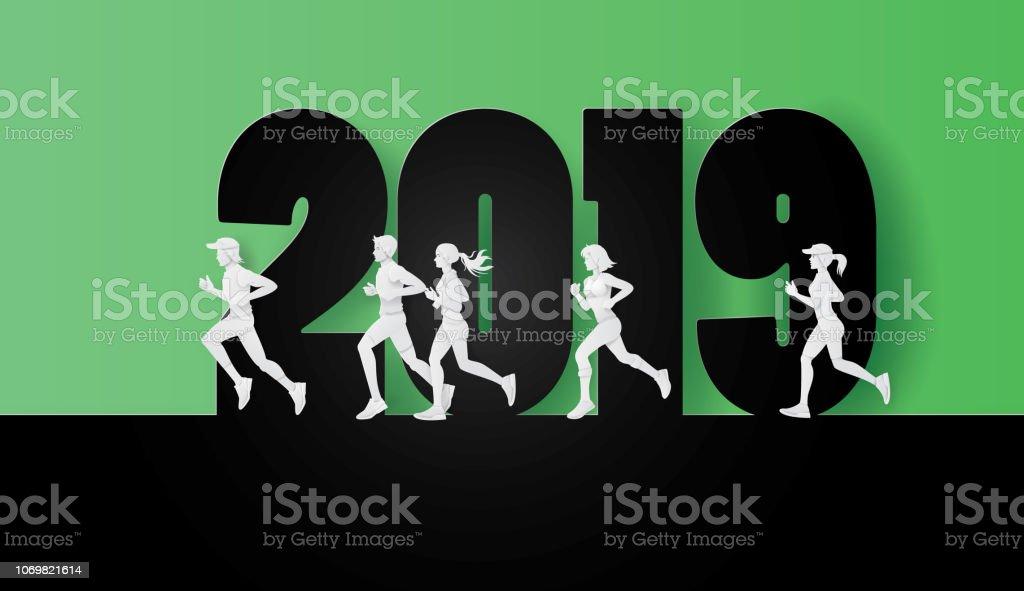 2019 feliz año nuevo o feliz Navidad - ilustración de arte vectorial
