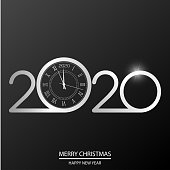 Happy New Year or Xmas card with white clock on black. 2020 Vector.