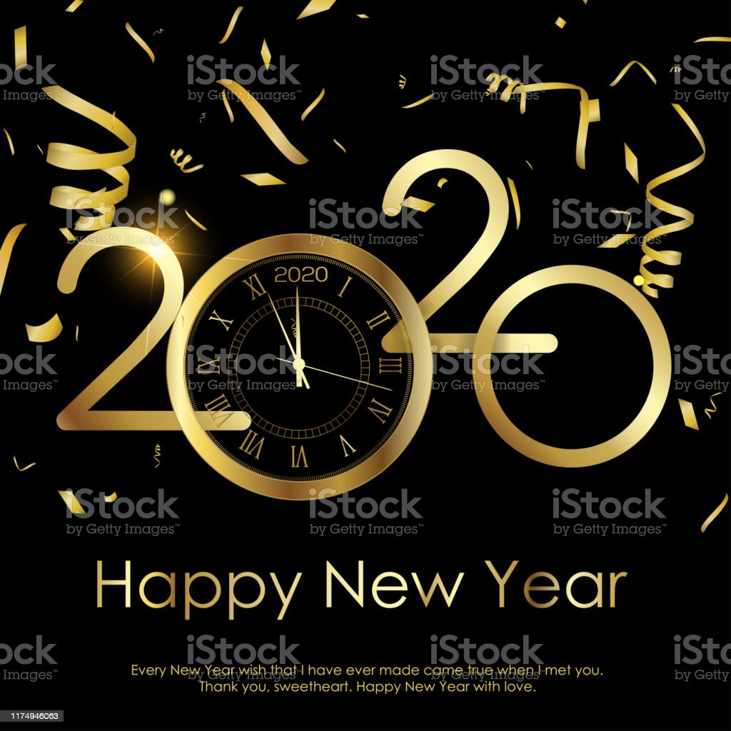 Happy New Year Or Xmas Greeting Card With Gold Clock 2020
