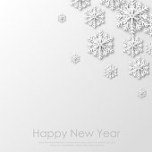 Happy New Year or Xmas greeting card with white paper snowflakes. 2020 Vector