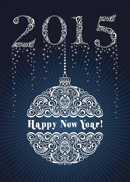 happy new year ornament 2015 vector art illustration