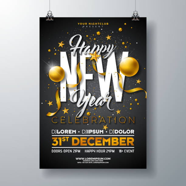 happy new year party celebration poster template illustration with gold glass ball and typography design on black background. vector holiday premium invitation flyer or promo banner. - happy new year stock illustrations