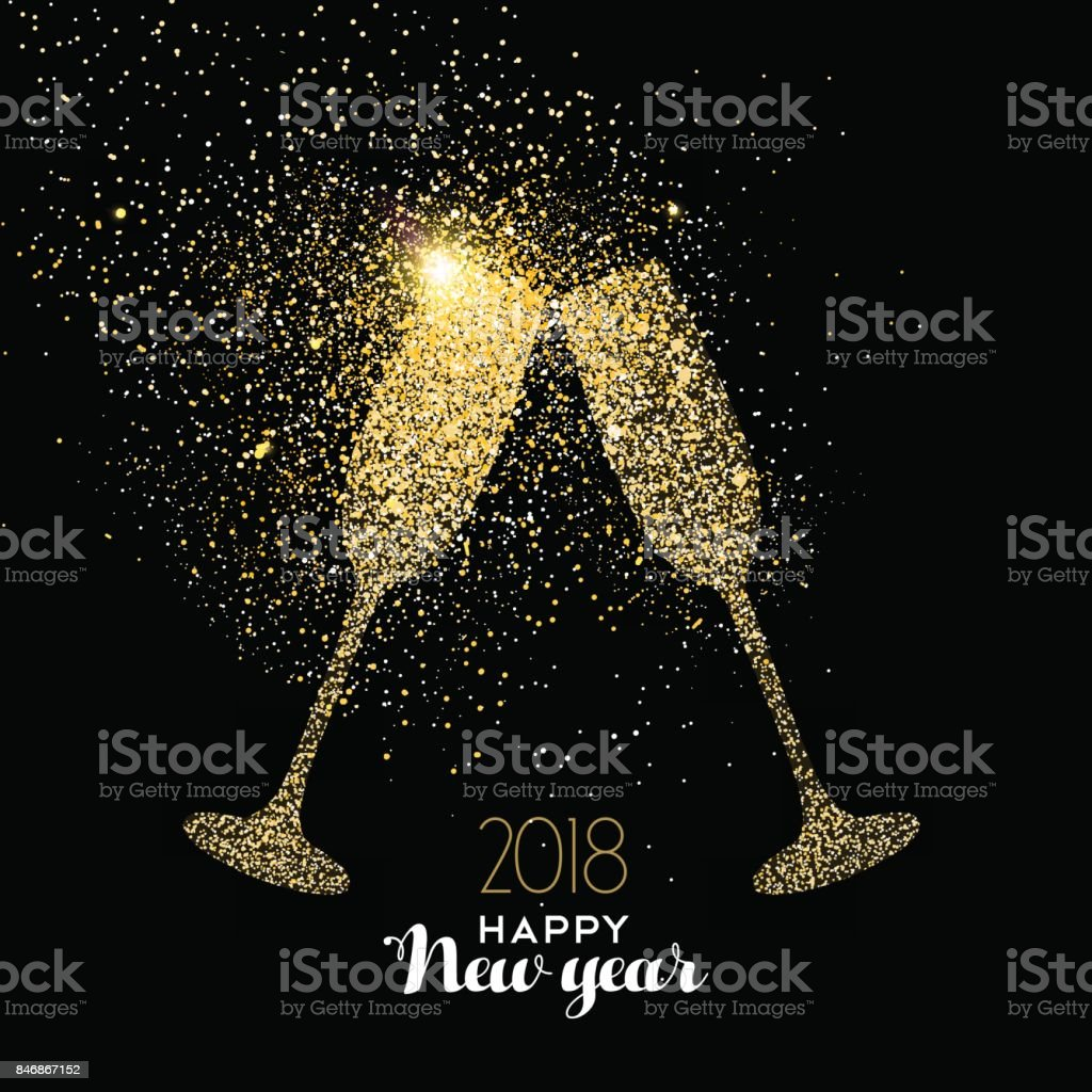 happy new year party drink gold glitter dust card royalty free happy new year party