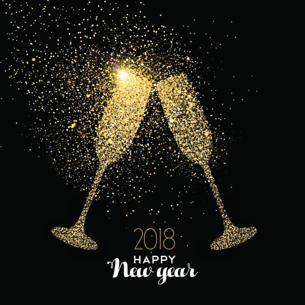 happy new year party drink gold glitter dust card vector art illustration