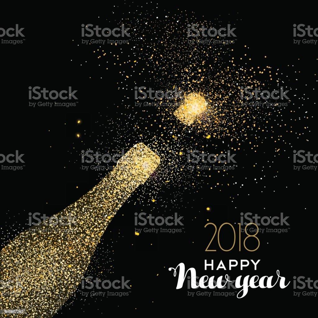 Glückliches Neujahr Party Getränk Goldglitter Staub Karte – Vektorgrafik