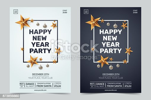 Happy New Year Party Invitation Black And White Festive Club Posters ...