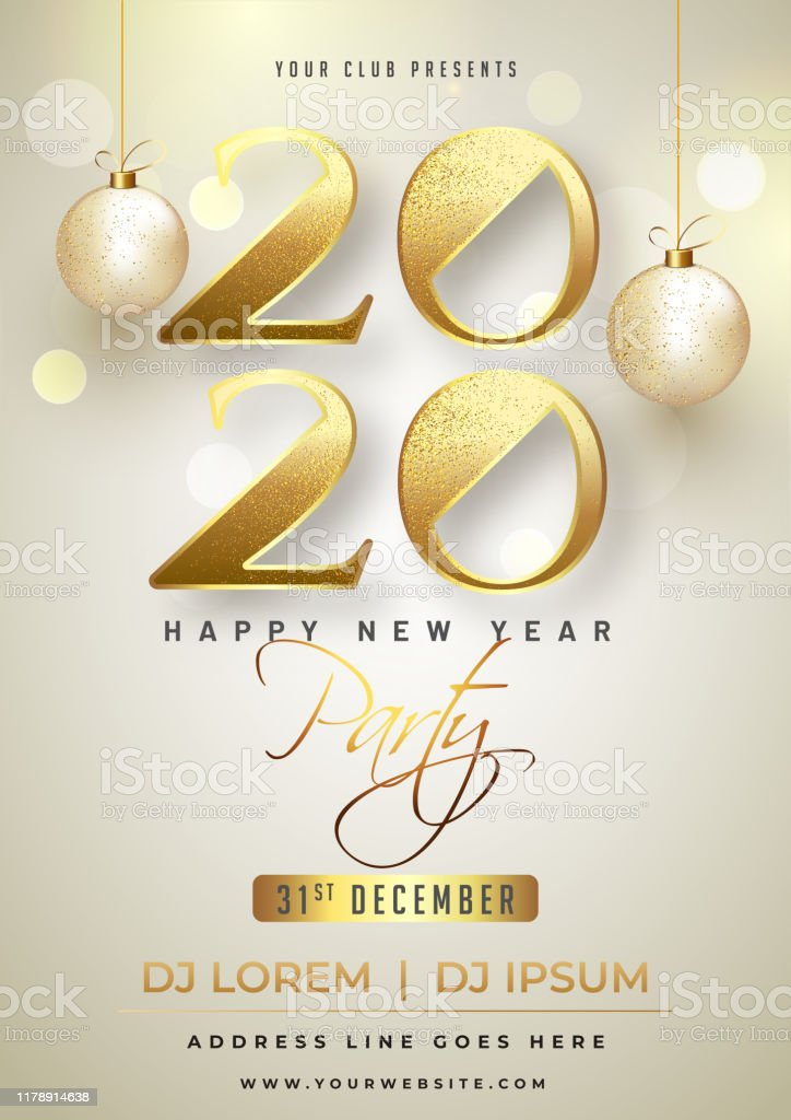 Happy New Year Party Invitation Card Design With Glittering