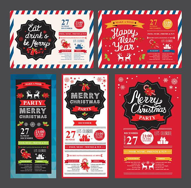 illustrazioni stock, clip art, cartoni animati e icone di tendenza di happy new year party invitation restaurant. christmas food menu. - pranzo di natale