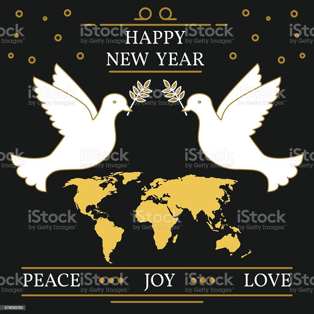 Happy New Year Peace Joy And Love Greeting Card Eps10 Stock Vector