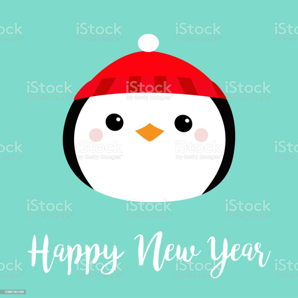 ae473f8f03eda Penguin round head face icon. Red hat. Merry Christmas. Cute cartoon kawaii  baby character. Arctic animal. Flat design. Hello winter. Blue background.
