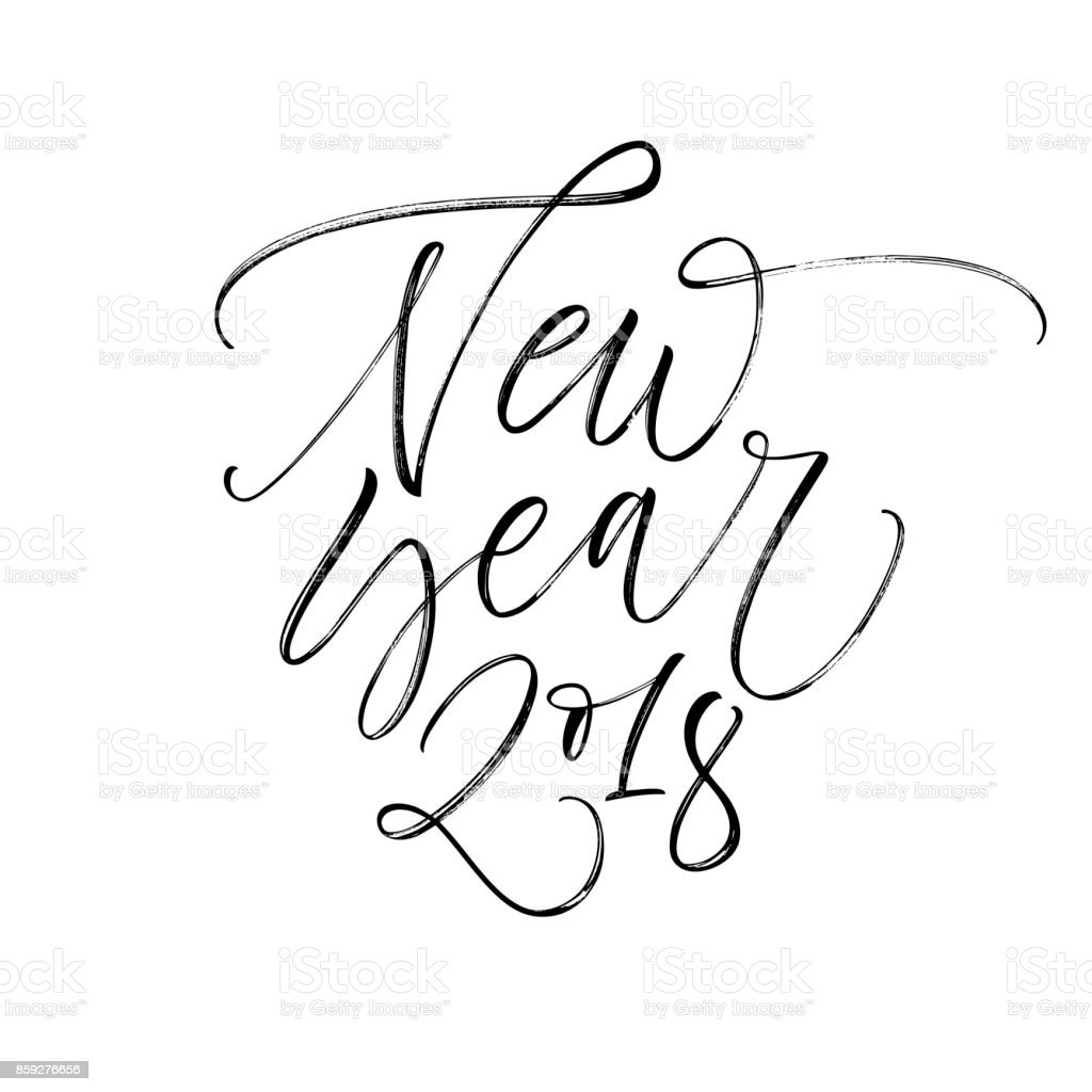 Happy New Year Phrase Stock Vector Art & More Images of 2018 ...
