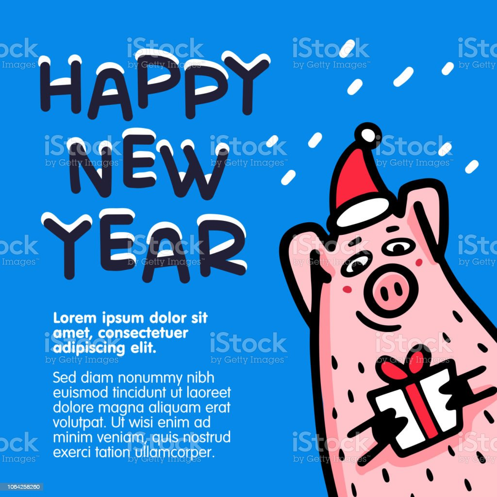 Happy New Year Pig Greeting Card Funny Pigs With Candy ...