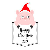 Happy New Year. Pig in the pocket. Cute cartoon character. Santa hat. Face and hands. Hello winter. Merry Christmas. White background. Flat design. Vector illustration