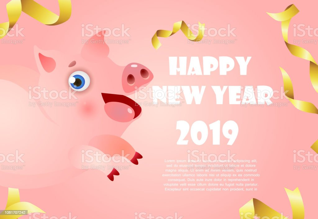happy new year pink banner design with chubby small piggy and sample text royalty free