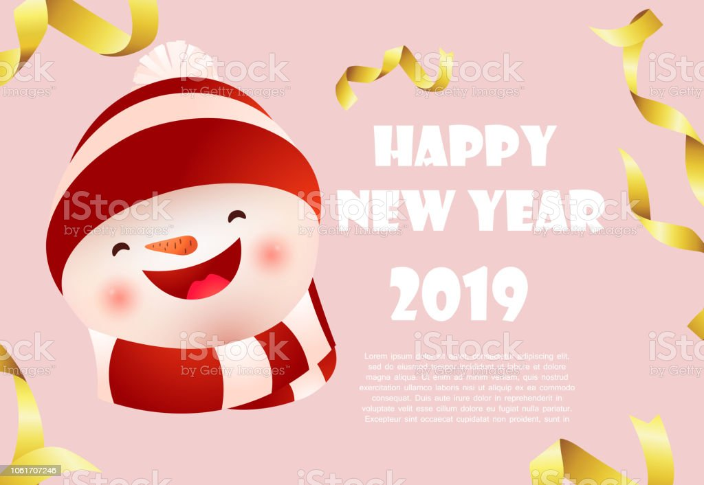 happy new year pink banner design with snowman face and sample text royalty free happy