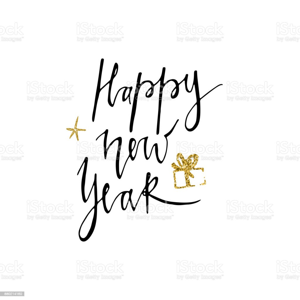 Happy New Year Postcard Template Modern Lettering Isolated On White ...