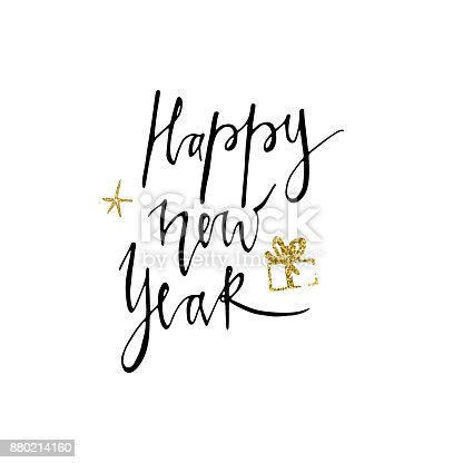 happy new year postcard template modern lettering isolated on white background christmas card concept handwritten modern brush lettering for winter holidays