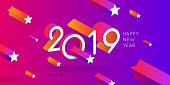 Happy New Year poster 2019. Modern abstract background. Template with stars of different sizes. Vector illustration