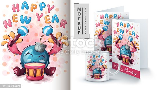Happy New Year poster and merchandising