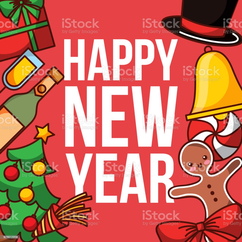Happy New Year Poster Greeting Celebration Decoration Stock Vector