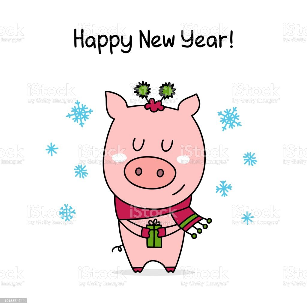 happy new year poster with cute pink piggy in sweet scarf celebration flat vector illustration