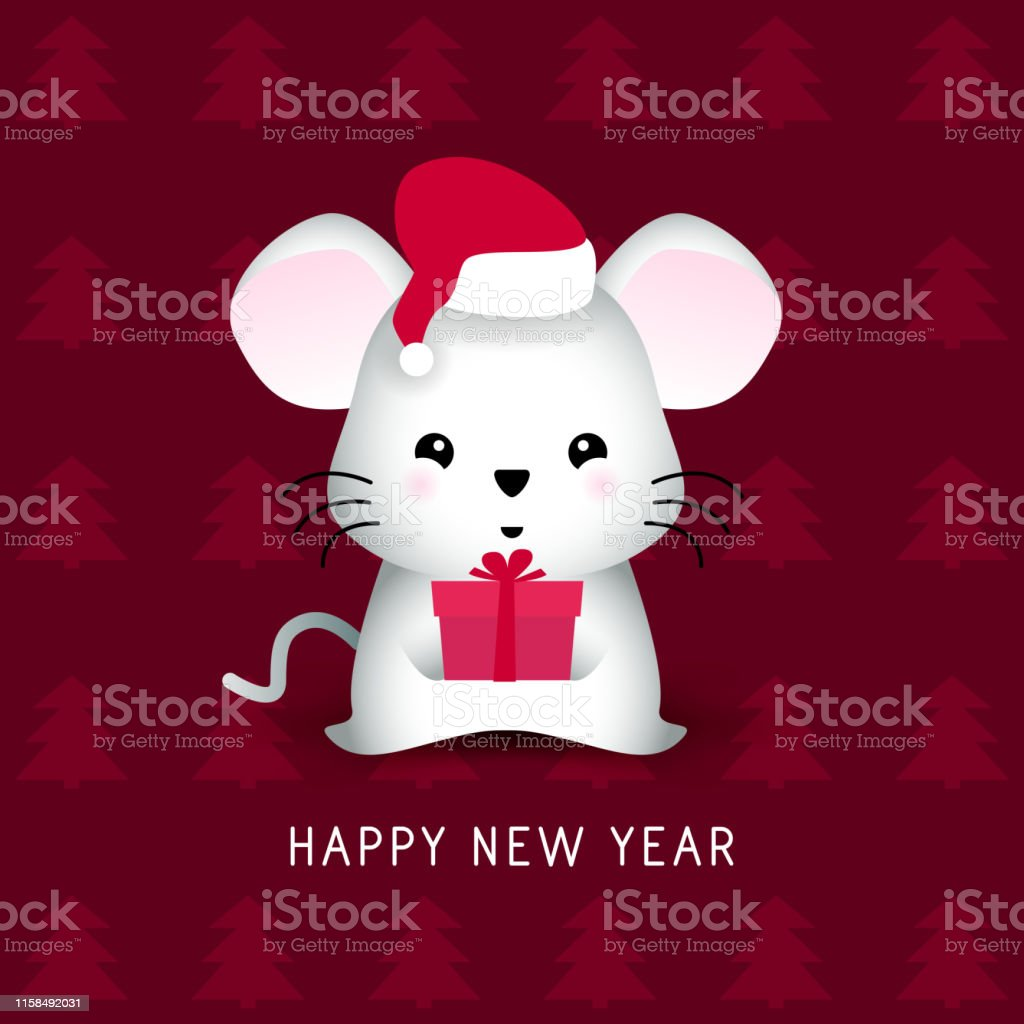 Happy New Year Rat 2020 Mouse In Santa Red Hat With Gift Box