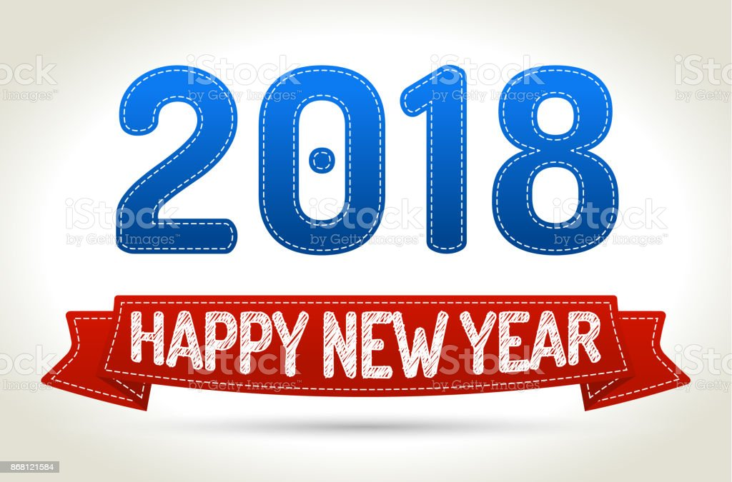 2018 - Happy new year- Red ribbon with shadow on light background. vector art illustration