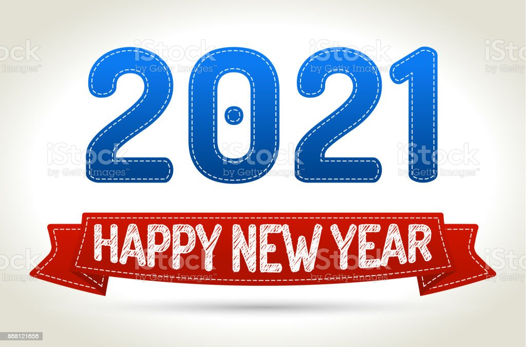 2021 - Happy new year- Red ribbon with shadow on light background. vector art illustration