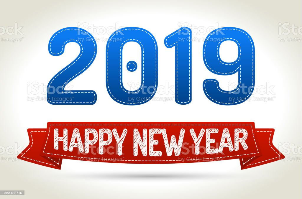 2019 - Happy new year- Red ribbon with shadow on light background. vector art illustration