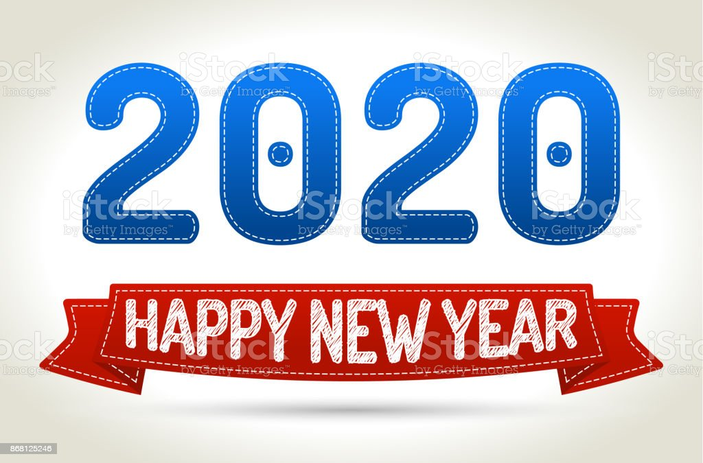 2020 - Happy new year- Red ribbon with shadow on light background. vector art illustration