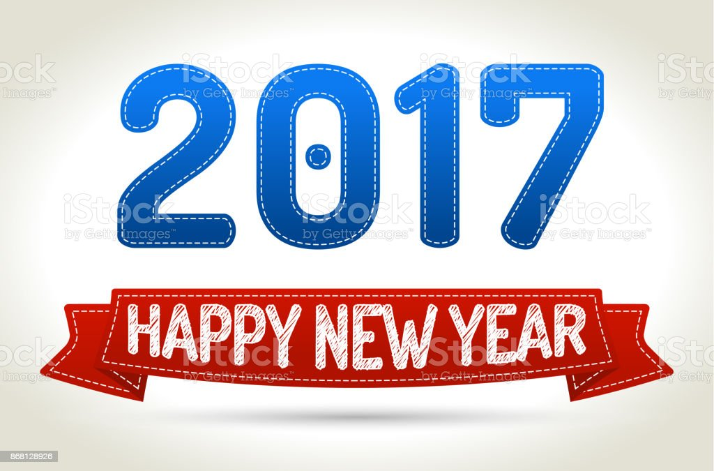 2017 - Happy new year- Red ribbon with shadow on light background. vector art illustration